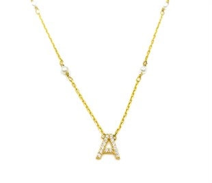 Pave Initial Pearl Necklace