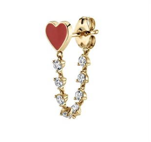 Heart Drop Stud Earring